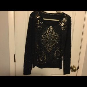 Miss Me bejeweled top with lace sleeves
